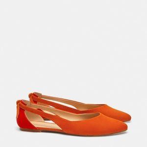 Zara Orange Ballet Flats Sz 7 1/2